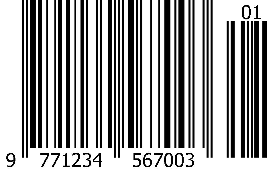 ISSN+2 ean+2 magazine barcode with 2-digit supplements